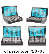 Clipart Illustration Of Four Laptop Computers With Three Gray Men On Each Screen