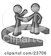 Clipart Illustration Of A Gray Salesman Shaking Hands With A Client While Making A Deal