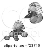 Clipart Illustration Of A Gray Judge Man Wearing A Wig In Court