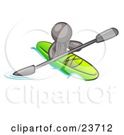 Gray Man Paddling Down A River In A Green Kayak