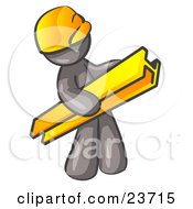 Clipart Illustration Of A Gray Man Construction Worker Wearing A Hardhat And Carrying A Beam At A Work Site