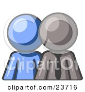Clipart Illustration Of A Blue Person Standing Beside A Gray Businessman Symbolizing Teamwork Or Mentoring