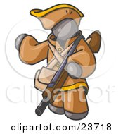 Clipart Illustration Of A Gray Man In Hunting Gear Carrying A Rifle
