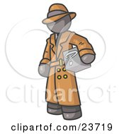 Clipart Illustration Of A Secretive Gray Man In A Trench Coat And Hat Carrying A Box With A Question Mark On It