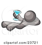 Clipart Illustration Of A Gray Man Kicking Back And Relaxing With A Martini Beverage by Leo Blanchette