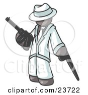 Clipart Illustration Of A Gray Gangster Man Carrying A Gun And Leaning On A Cane