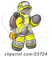 Clipart Illustration Of A Gray Fireman In A Uniform Fighting A Fire by Leo Blanchette