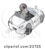 Clipart Illustration Of A Gray Businessman Talking On A Cell Phone While Driving In A White Convertible Car