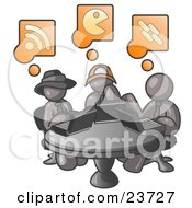 Clipart Illustration Of Three Gray Men Using Laptops In An Internet Cafe