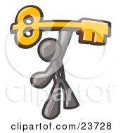 Clipart Illustration Of A Gray Businessman Holding A Large Golden Skeleton Key Symbolizing Success