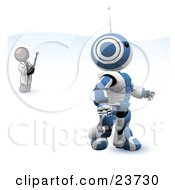 Clipart Illustration Of A Gray Man Inventor Operating An Blue Robot With A Remote Control
