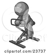 Clipart Illustration Of A Gray Man Exercising On A Stationary Bicycle