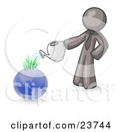 Clipart Illustration Of A Gray Man Using A Watering Can To Water New Grass Growing On Planet Earth Symbolizing Someone Caring For The Environment