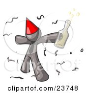 Happy Gray Man Partying With A Party Hat Confetti And A Bottle Of Liquor by Leo Blanchette
