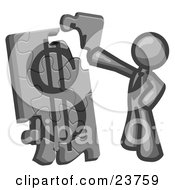 Clipart Illustration Of A Gray Businessman Putting A Dollar Sign Puzzle Together by Leo Blanchette
