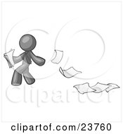 Gray Man Dropping White Sheets Of Paper On A Ground And Leaving A Paper Trail Symbolizing Waste by Leo Blanchette