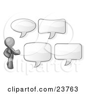 Gray Businessman With Four Different Word Bubbles