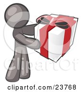 Thoughtful Gray Man Holding A Christmas Birthday Valentines Day Or Anniversary Gift Wrapped In White Paper With Red Ribbon And A Bow by Leo Blanchette