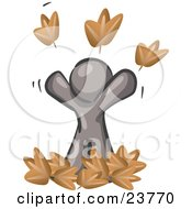 Clipart Illustration Of A Carefree Gray Man Tossing Up Autumn Leaves In The Air Symbolizing Happiness And Freedom