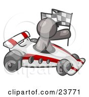 Clipart Illustration Of A Gray Man Driving A Fast Race Car Past Flags While Racing