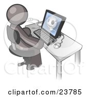Clipart Illustration Of A Gray Doctor Man Sitting At A Computer And Viewing An Xray Of A Head