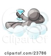 Clipart Illustration Of A Relaxed Gray Man Drinking A Martini And Kicking Back On Cloud Nine by Leo Blanchette