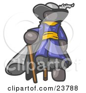 Clipart Illustration Of A Gray Male Pirate With A Cane And A Peg Leg by Leo Blanchette