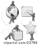 Clipart Illustration Of Gray Men With A Globe Presentation Board Cube And Star