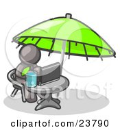 Clipart Illustration Of A Traveling Gray Business Man Sitting Under An Umbrella At A Table Using A Laptop Computer by Leo Blanchette