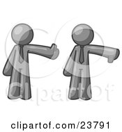 Clipart Illustration Of A Gray Business Man Giving The Thumbs Up Then The Thumbs Down by Leo Blanchette
