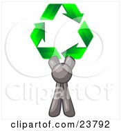 Gray Man Holding Up Three Green Arrows Forming A Triangle And Moving In A Clockwise Motion Symbolizing Renewable Energy And Recycling by Leo Blanchette