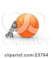 Clipart Illustration Of A Strong Gray Business Man Pushing An Orange Sphere