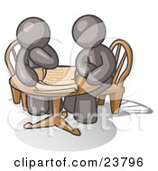 Clipart Illustration Of Two Gray Businessmen Sitting At A Table Discussing Papers