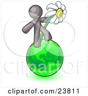 Clipart Illustration Of A Gray Man Standing On The Green Planet Earth And Holding A White Daisy Symbolizing Organics And Going Green For A Healthy Environment