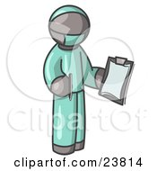 Clipart Illustration Of A Gray Surgeon Man In Green Scrubs Holding A Pen And Clipboard by Leo Blanchette