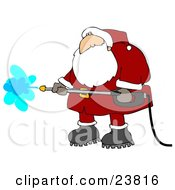 Santa Claus In A Red And White Suit And Boots Operating A Pressure Washer