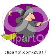 Clipart Illustration Of A Chubby Black Haired Warty Female Witch Flying In A Purple Sky On Her Broomstick On Halloween A Crescent Moon In The Distance