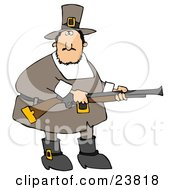 Clipart Illustration Of A Confused Fat Male Pilgrim In Brown Holding A Rifle While Out Hunting For Turkey Birds