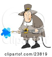 Grumpy Male Pilgrim In Brown Clothes And A Hat Operating A Pressure Washer