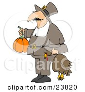 Male Pilgrim In Brown Carrying A Pumpkin And A Dead Turkey Bird To A Thanksgiving Feast