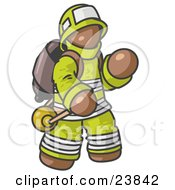 Clipart Illustration Of A Brown Fireman In A Uniform Fighting A Fire by Leo Blanchette