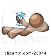 Clipart Illustration Of A Brown Man Kicking Back And Relaxing With A Martini Beverage by Leo Blanchette