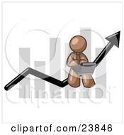Clipart Illustration Of A Brown Man Using A Laptop Computer Riding The Increasing Arrow Line On A Business Chart Graph