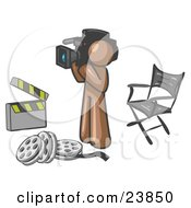 Clipart Illustration Of A Brown Man Filming A Movie Scene With A Video Camera In A Studio