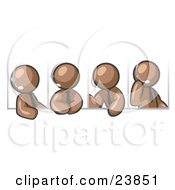 Clipart Illustration Of Four Different Brown Men Wearing Headsets And Having A Discussion During A Phone Meeting