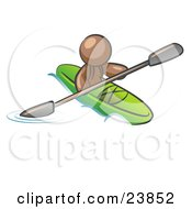 Clipart Illustration Of A Brown Man Paddling Down A River In A Green Kayak by Leo Blanchette
