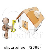 Clipart Illustration Of A Brown Businessman Holding A Skeleton Key And Standing In Front Of A House With A Coin Slot And Keyhole