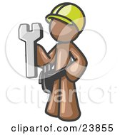 Proud Brown Construction Worker Man In A Hardhat Holding A Wrench Clipart Illustration