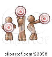 Clipart Illustration Of A Group Of Three Brown Men Holding Red Targets In Different Positions