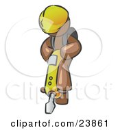 Clipart Illustration Of A Brown Construction Worker Man Wearing A Hardhat And Operating A Yellow Jackhammer While Doing Road Work by Leo Blanchette